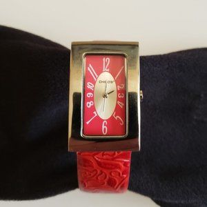 Chico's Woman's Watch, Red Leather & Silver